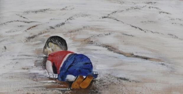 Suriyeli genç kız savaşın acılarını resme aktardı