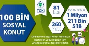 TOKİ'nin 100 Bin Sosyal Konut Projesi'ne 1 milyon 211 bin 518 kişi başvurdu