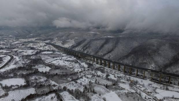 Bolu Dağı'nda eşsiz kar manzarası havadan görüntülendi