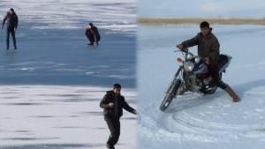 Donan gölde motosikletli drift